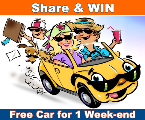Share and WIN a Free Rent a Car for a Weekend to spend it as you want!